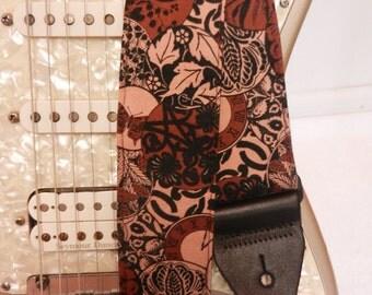 brown boho medalions leaves clocks hipster guitar strap