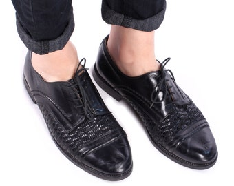 WOVEN OXFORD Shoes 80s Office Work Black Retro Wide Fit Classic Vintage Nerdy Lace Up Brogues Made in Europe men Us 9 Eur 43 Uk 8.5