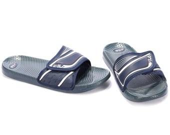 Us Men 9.5 80s FILA Slide Soccer Sandals for Men Sport Slides Navy Blue White Slip On MULES Summer Beach Shoes Uk 9, Eur 43