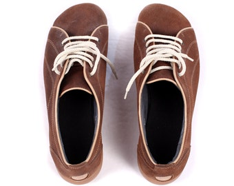 SUEDE SNEAKERS Shoes for Men 90s Helvesko Swiss Made Leather Trainers Brown Wedges Sole Retro Lace Up Size Us mens 8, Eur 41 , Uk 7.5