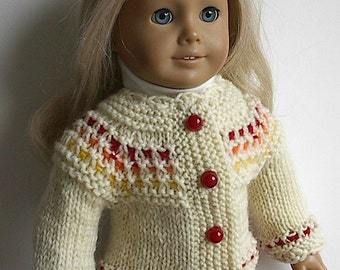 "18 Inch Doll Clothes Handknit Cardigan Sweater in Natural with Red Orange Yellow Handmade to fit American Girl and Other Similar 18"" Dolls"