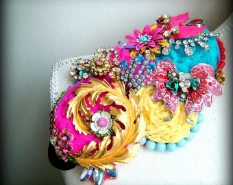 Party Spirit - OOAK Brooch/hairpiece - Ready to ship xx