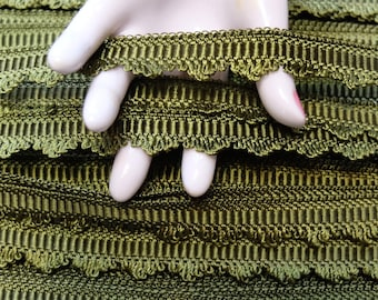 Vintage Rayon Olive Green Trim Yardage Available