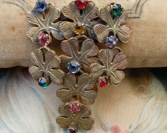 Vintage Dress Clip Metal Clovers Multi Colored Rhinestone