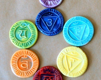 7 Handmade Ceramic Mosaic tiles - Chakra cabochons in a rainbow of colors