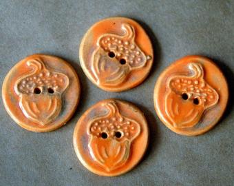 4 Rustic Handmade Ceramic Acorn Buttons - Autumn Orange Stoneware  - perfect for button bracelets