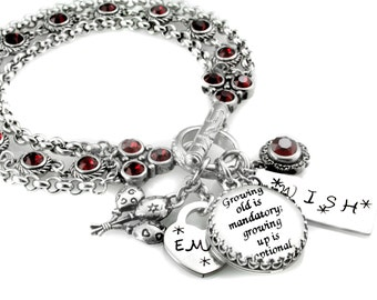July Birthstone Bracelet - Personalized Birthday Jewelry - Ruby Crystal Bracelet - Birthday Gift