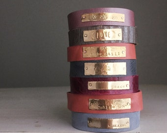 Colorful Hand Stamped Leather/Brass Bracelet Cuff