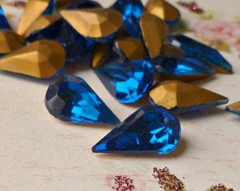 12 Czech Vintage Capri Blue 13x8mm Glass Jewels (54-12B-12)