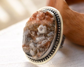 Chalcedony Druzy Ring, 925 Silver Ring, Silver and Stone Ring, Statement Ring, Handmade Artisan Metalwork, One of a Kind Ring, Gift for Her