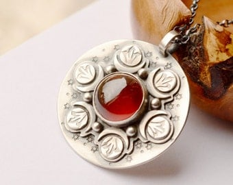 Red Garnet Necklace, Detailed Metalwork, Sterling Silver Necklace, Stone Pendant, Handmade Statement Jewelry, One of a Kind Jewelry
