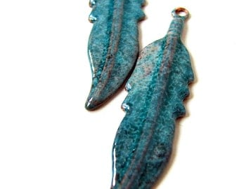 Rustic Turquoise Feather Enameled Charms