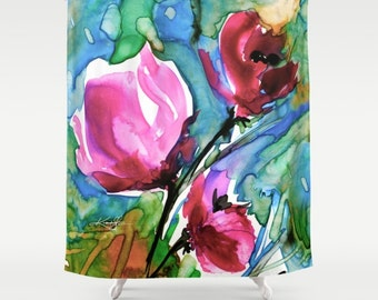 "Pink Flower Shower Curtain, Poppy Poppies Watercolor Painting of Original abstract floral art ""Floral 9"" Kathy Morton Stanion  EBSQ"