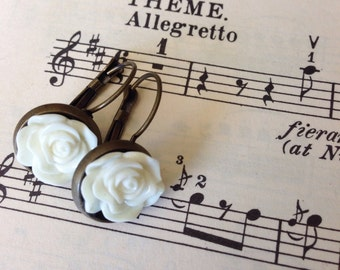 White Floral Brass Dangles