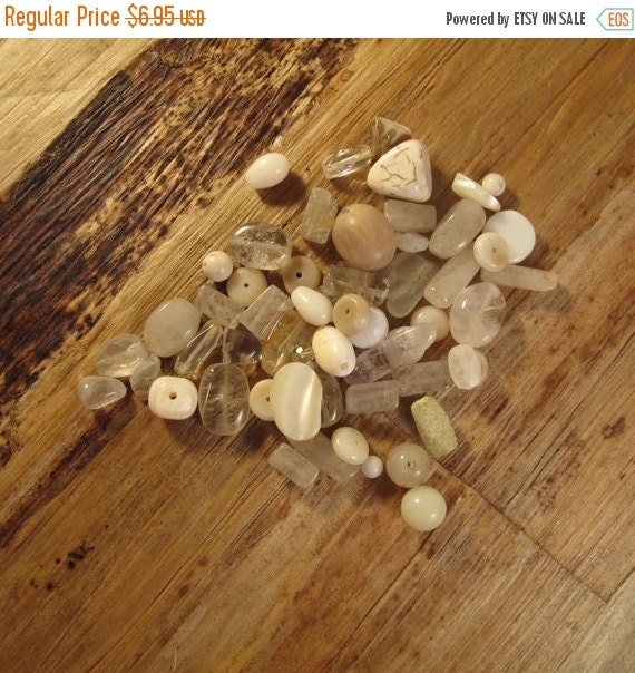 HOT SALE - Gemstone Bead Mix, Brown, White, Cream Gemstone Grab Bag, 53 Beads for Making Jewelry, Assorted Shapes and Sizes (L-Mix13c)