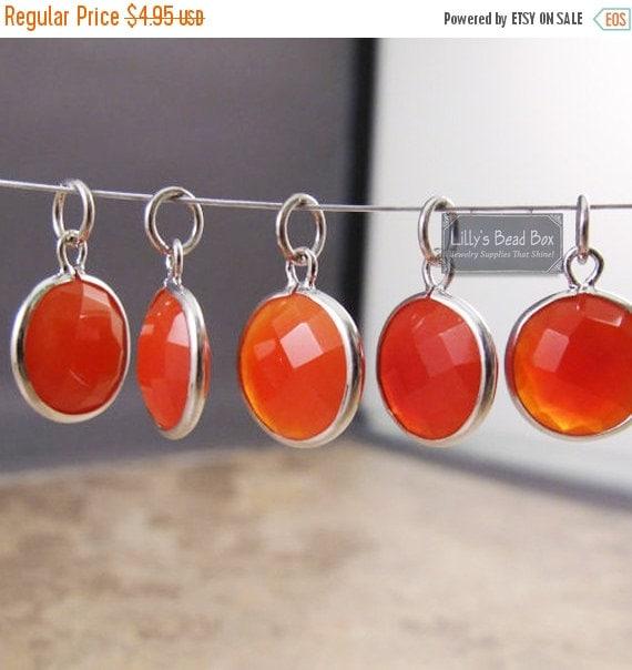 Labor Day SALE - Chalcedony Charm, Orange Gemstone Pendant with Silver Plated Bezel, Jewelry Supplies, Bridesmaid Jewelry (C-Ra2g)