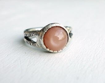 Peach Moonstone Signet Ring