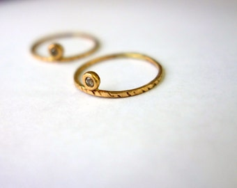 Side Eye Ring- 14k Yellow Gold and Champagne Diamond - Alternative Engagement Ring - Gold Stacking Handmade Recycled Meta Ring