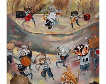 Cat, Punk Rock, Mosh Pit, Kitties, Dancing Cats, Concert T-shirts, Pop Folk Surrealism Kitty Print by Heather Renaux