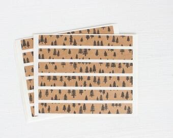 kraft sticker strips - tiny trees