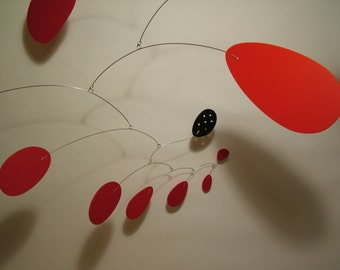 Modern Art Mobile Lustron Mobiles Modern Art Sculpture ML Calder Inspired Red and Black or Any Colors Custom