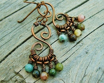Fancy Jasper Beads and Antiqued Copper hammered and wire wrapped beaded dangles earthy earrings