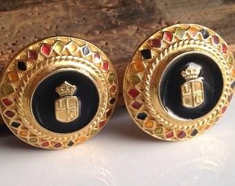 Enamel Crest Earrings, Vintage Liz Claiborne Earrings, Multi Colored Earrings, Clip ons, Button Style Earrings, Etsy, Etsy Jewelry