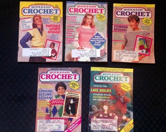 Quick & Easy Crochet January- December 1992 5 Back Issues