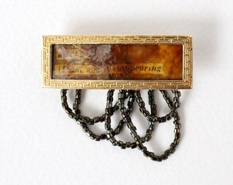Mixed Media Brooch - Beaded Poetry Collage Made with Vintage Supplies