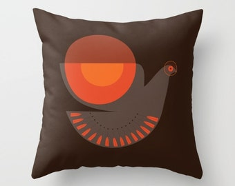 Mid Century Illustrated Bird No. 8 Throw Pillow