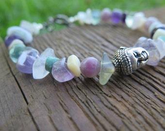 Buddha Gemstone Bracelet - Pretty Soft Pastel - Free Spirit People - Good Vibes - Wanderlust - Silver Feather Charm - Earthy Yoga Jewelry