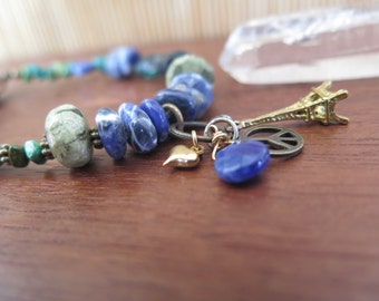 Funky Eiffel Tower Paris Bracelet - Eclectic Blues Green Earthy - Mixed Metals - Peace Heart Sparkle - Funky OOAK Bohemian Jewelry - Cobalt