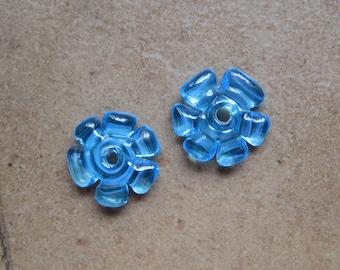 Lampwork Beads - SueBeads - Disc Beads - Aqua Blue Cut Disc Flower Bead Pair - Handmade Lampwork Beads - SRA M67