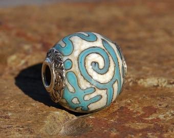 Turquoise Graffiti (Medium)- K O Lampwork - Sterling Big Hole European Style Charm Bead