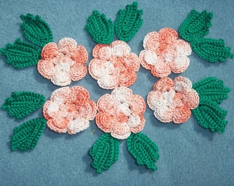 6 handmade peach cotton thread crochet applique roses with leaves -- 2500