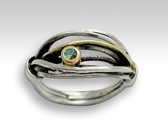 Sterling silver ring, wrapped band, silver and gold ring, blue topaz ring, stone ring, twoTone ring, wrap silver band - Love is found R1516B