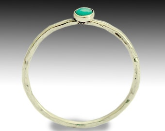 Turquoise ring, stone ring, thin ring, sterling silver ring, hammered ring, gemstone ring,stacking ring, silver band - Secret smiles R1595X