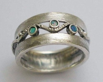 Mothers day birthstone ring, Silver Band, brushed silver band, opals ring, gemstones ring, everyday ring - Entertainment tonight. R1240S