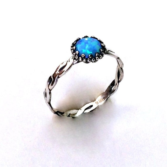Sterling silver ring, Opal ring, delicate ring, braided band, gemstone ring, solitaire ring, shiny silver ring, thin ring - Shiny R2110
