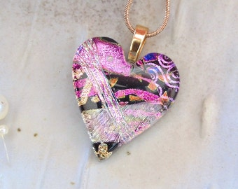 Pink Necklace, Fused Dichroic Glass Heart Pendant, Necklace, Glass Jewelry, Necklace Included, Pink, Black, One of a Kind, A8