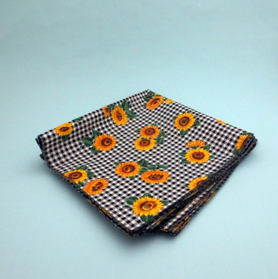 Sunflower Cotton Cloth 18 Inch Napkins Set of Four
