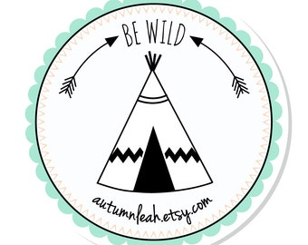 Personalized Stickers -- Teepee  -- Address Labels, Personalized Labels, Party Favor -- Choice of Size