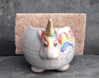 Elwood the Rainbow Unicorn Sponge Holder