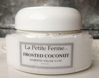 Frosted Coconut - Whipped sugar soap, stocking stuffer, gift for teenager, gift for teacher, gift under 10, beach lover, shower soap