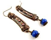 Blue and Copper Earrings, Rhinestone Earrings, Dangle Earrings, Blue Earrings, Reclaimed Jewelry, Upcycled Earrings, Patina Earrings