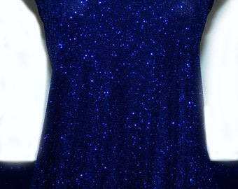 "Slinky spandex glittered Royal  4 ways stretch fabric .formal wear/ costume / tops/ skirts/ pants/ 60"" wide"