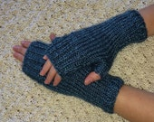 Handknitted Fingerless Gloves Wristwarmers Handwarmers - Dusty Blue -  Size M/L  (womens)