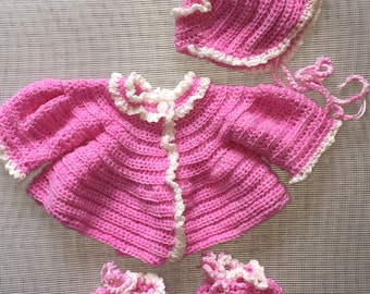 Baby Girl Layette - Pink and White Crocheted