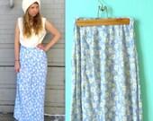 Daisy Skirt /// Flowy // Farmer's Market // Handmade // Ankle // Size Medium or Small // 1990s Floral Skirt // 90s Daisy Skirt