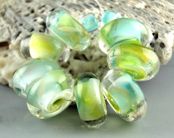 Handmade Lampwork Glass Beads, lampwork bead set, jewelry supplies, lampwork spacer bead, artist lampwork, Oasis